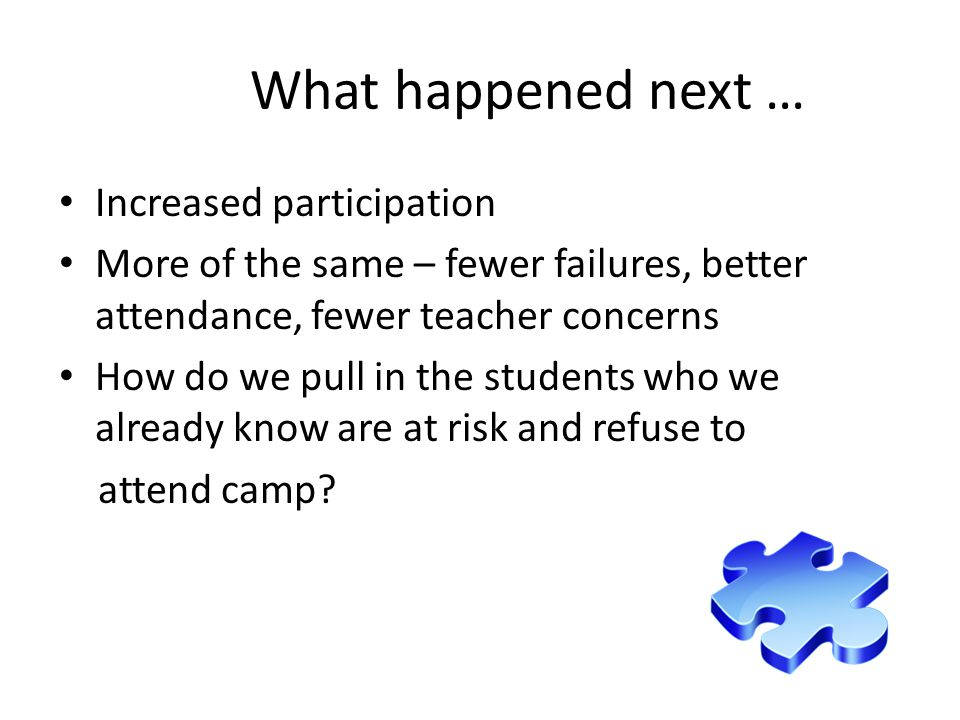 What happened next … Increased participation More of the same – fewer failures, better attendance, fewer teacher concerns How do we pull in the students who we already know are at risk and refuse to attend camp