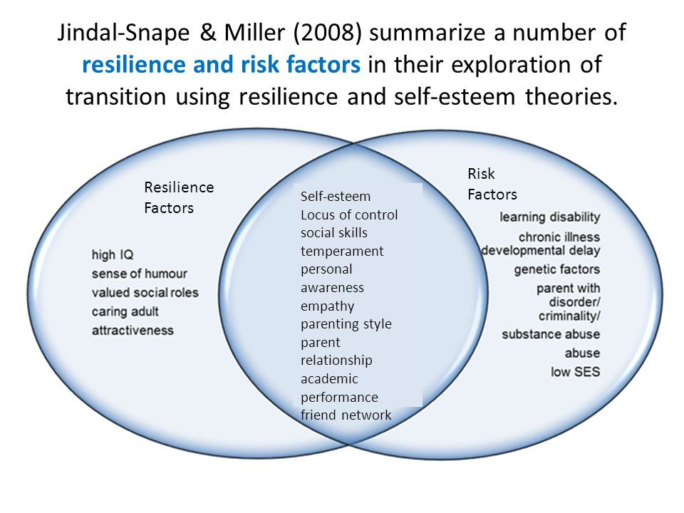 Jindal-Snape & Miller (2008) summarize a number of resilience and risk factors in their exploration of transition using resilience and self-esteem theories.