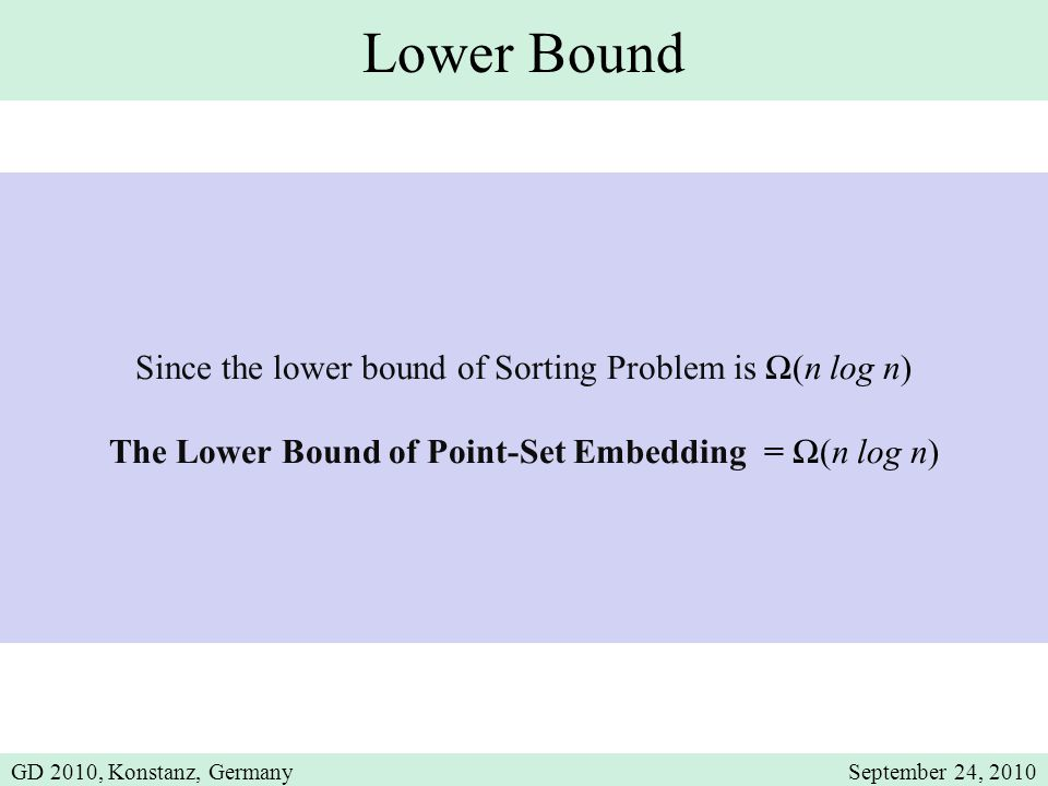 Lower Bound Since the lower bound of Sorting Problem is Ω(n log n) The Lower Bound of Point-Set Embedding = Ω(n log n) GD 2010, Konstanz, GermanySeptember 24, 2010