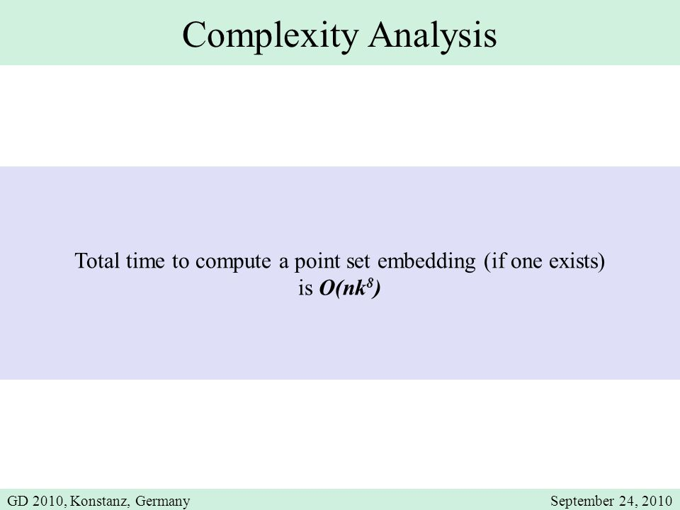 Complexity Analysis Total time to compute a point set embedding (if one exists) is O(nk 8 ) GD 2010, Konstanz, GermanySeptember 24, 2010