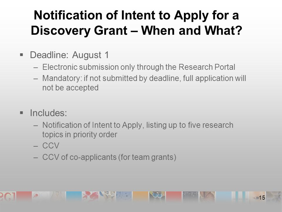 Notification of Intent to Apply for a Discovery Grant – When and What.