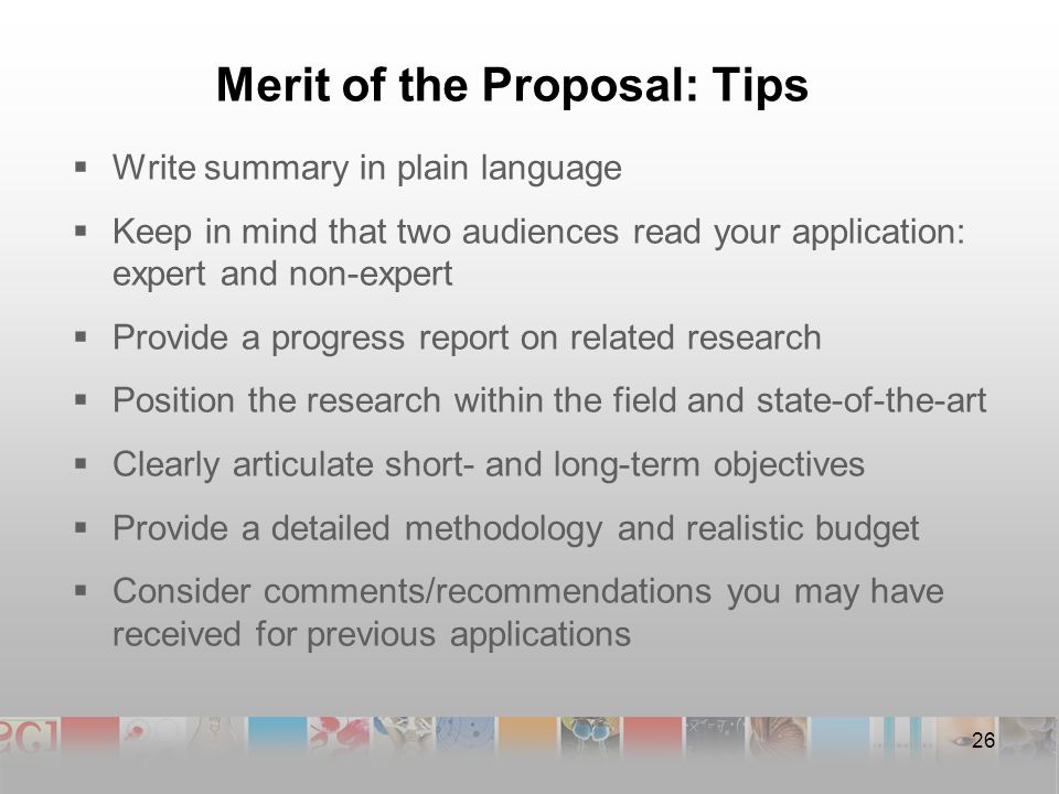 Merit of the Proposal: Tips  Write summary in plain language  Keep in mind that two audiences read your application: expert and non-expert  Provide a progress report on related research  Position the research within the field and state-of-the-art  Clearly articulate short- and long-term objectives  Provide a detailed methodology and realistic budget  Consider comments/recommendations you may have received for previous applications 26