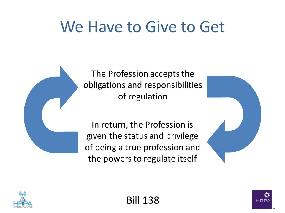 Bill 138 The Profession accepts the obligations and responsibilities of regulation In return, the Profession is given the status and privilege of being a true profession and the powers to regulate itself We Have to Give to Get