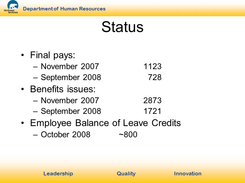 LeadershipQuality Innovation Department of Human Resources Status Final pays: –November 20071123 –September 2008 728 Benefits issues: –November 20072873 –September 20081721 Employee Balance of Leave Credits –October 2008~800