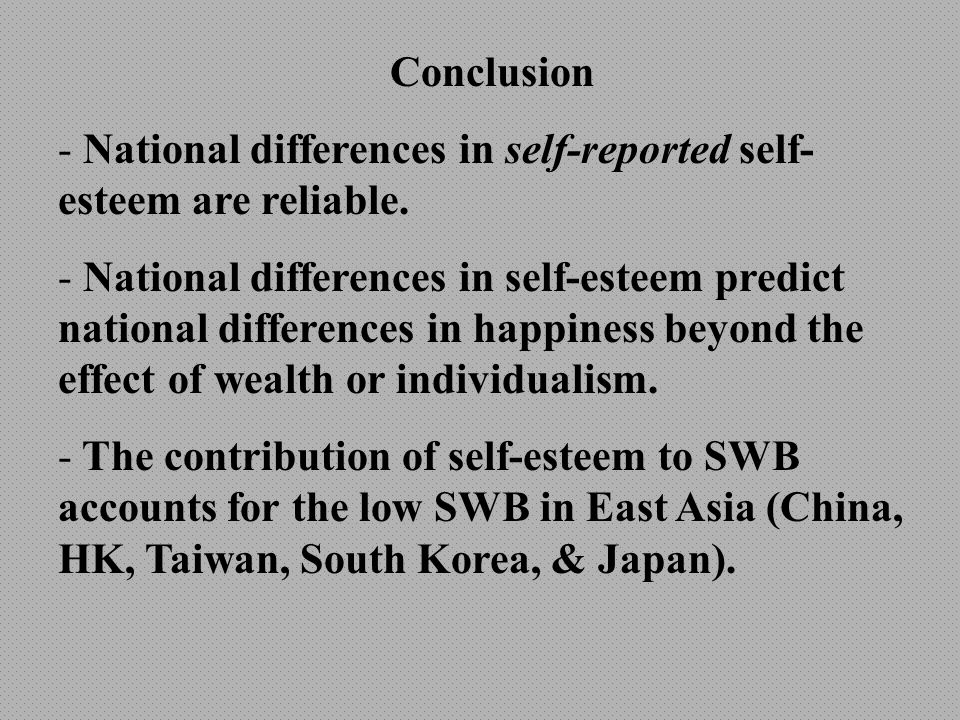 Conclusion - National differences in self-reported self- esteem are reliable.