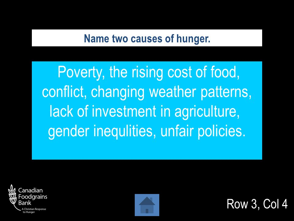 Row 3, Col 3 35% or higher In countries with very high rates of undernourishment, what percentage of people are undernourished.