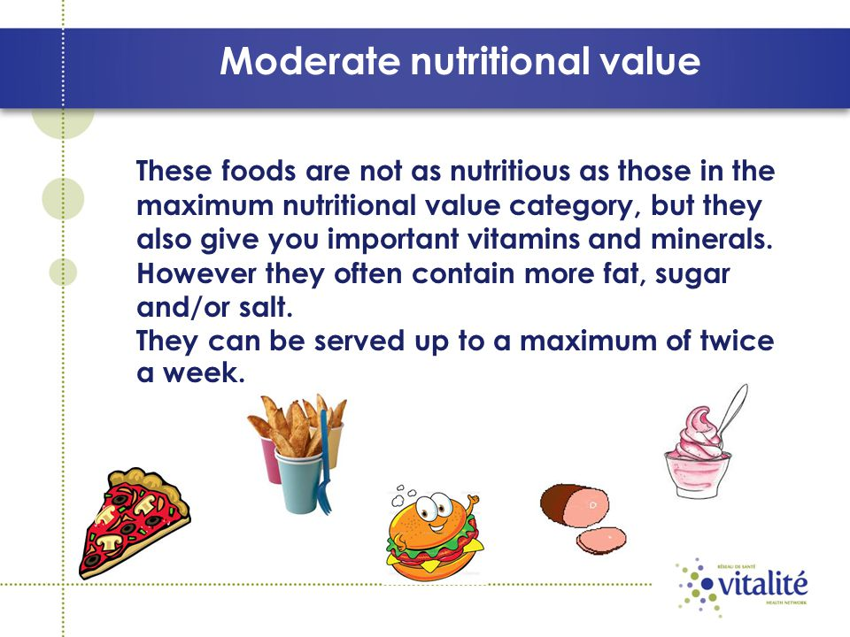 Moderate nutritional value These foods are not as nutritious as those in the maximum nutritional value category, but they also give you important vitamins and minerals.