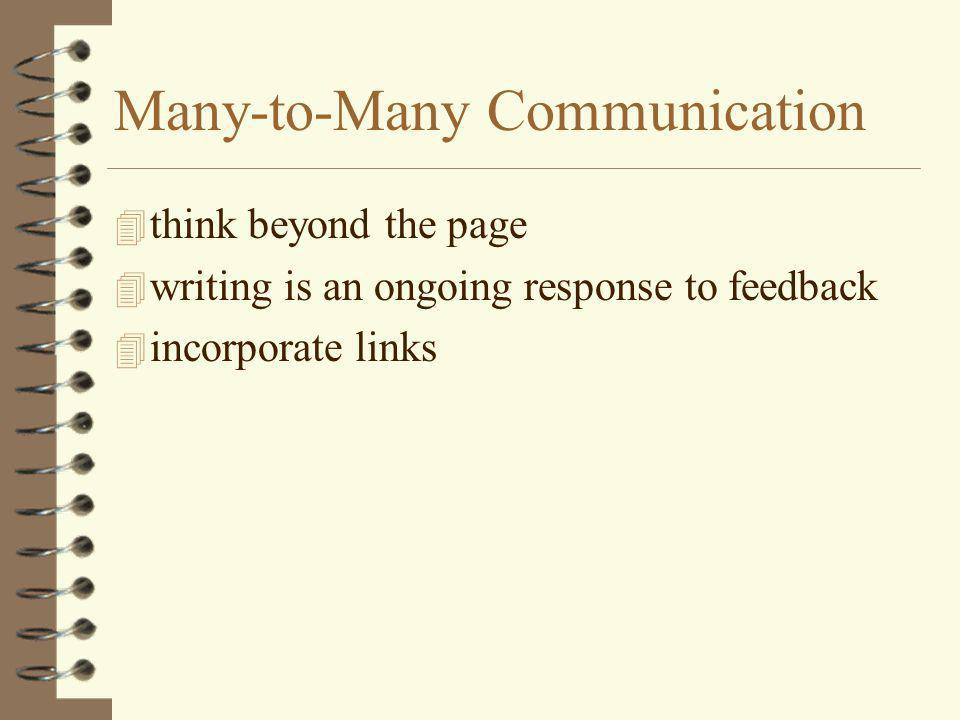 Many-to-Many Communication 4 think beyond the page 4 writing is an ongoing response to feedback 4 incorporate links