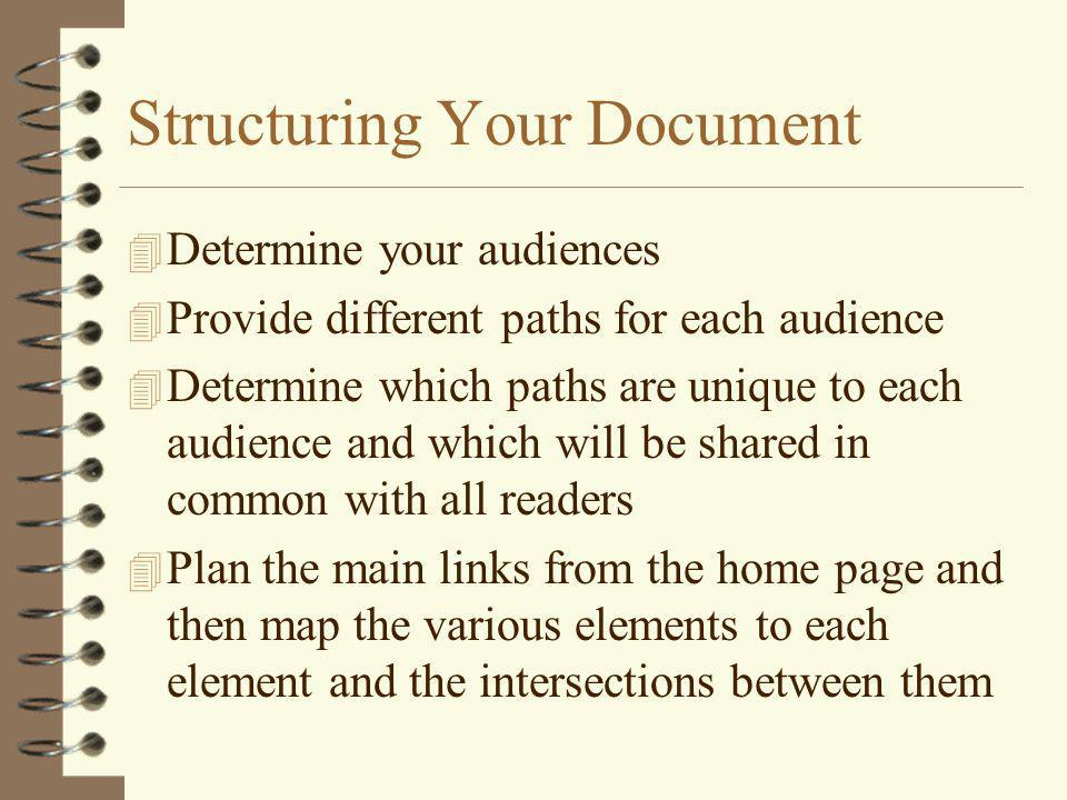 Structuring Your Document 4 Determine your audiences 4 Provide different paths for each audience 4 Determine which paths are unique to each audience and which will be shared in common with all readers 4 Plan the main links from the home page and then map the various elements to each element and the intersections between them
