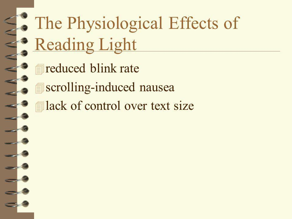 The Physiological Effects of Reading Light 4 reduced blink rate 4 scrolling-induced nausea 4 lack of control over text size