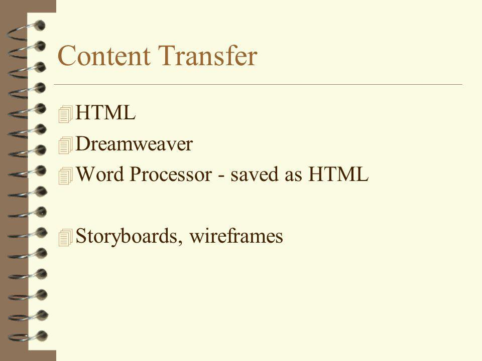 Content Transfer 4 HTML 4 Dreamweaver 4 Word Processor - saved as HTML 4 Storyboards, wireframes