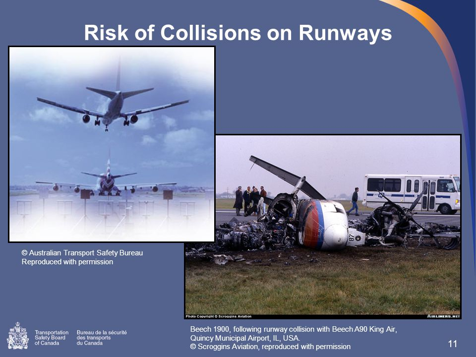 Risk of Collisions on Runways 11 © Australian Transport Safety Bureau Reproduced with permission Beech 1900, following runway collision with Beech A90 King Air, Quincy Municipal Airport, IL, USA.