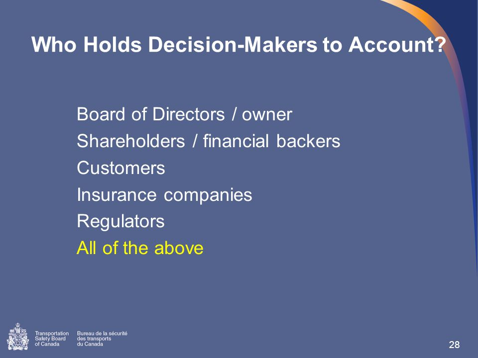 Who Holds Decision-Makers to Account.