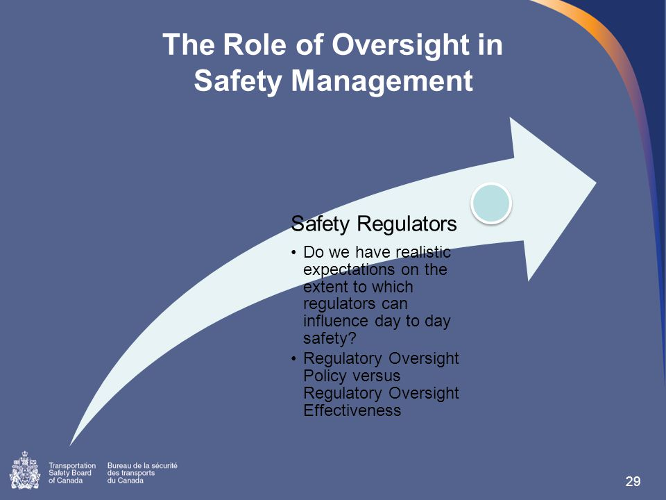 The Role of Oversight in Safety Management Safety Regulators Do we have realistic expectations on the extent to which regulators can influence day to day safety.