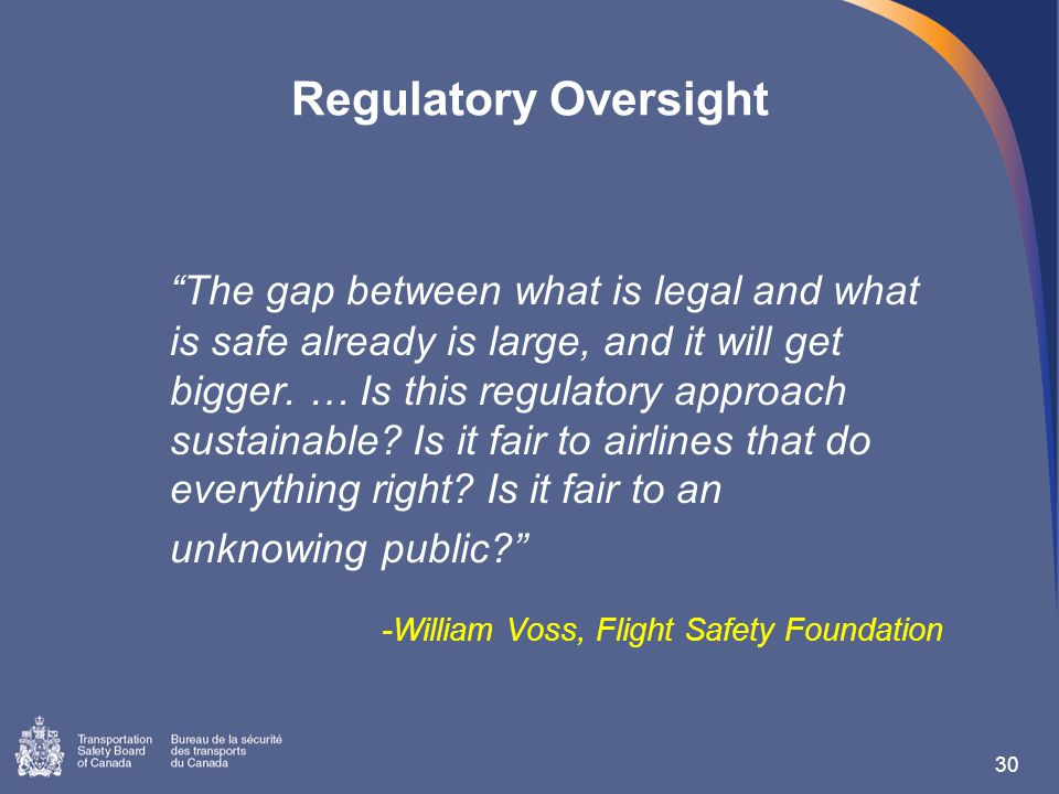 Regulatory Oversight The gap between what is legal and what is safe already is large, and it will get bigger.