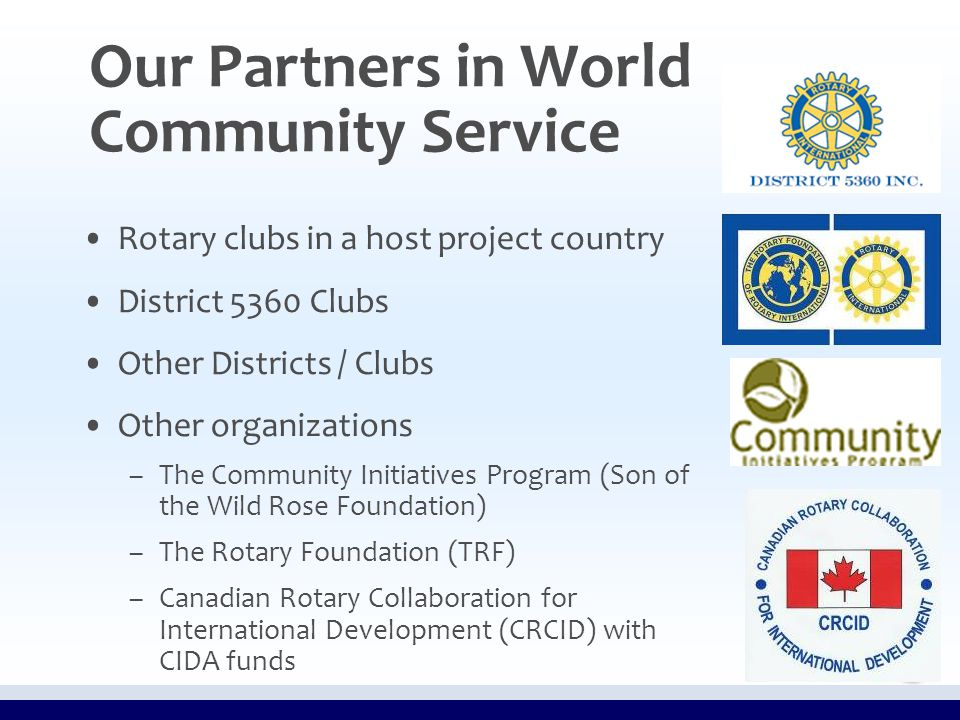 Our Partners in World Community Service Rotary clubs in a host project country District 5360 Clubs Other Districts / Clubs Other organizations – –The Community Initiatives Program (Son of the Wild Rose Foundation) – –The Rotary Foundation (TRF) – –Canadian Rotary Collaboration for International Development (CRCID) with CIDA funds