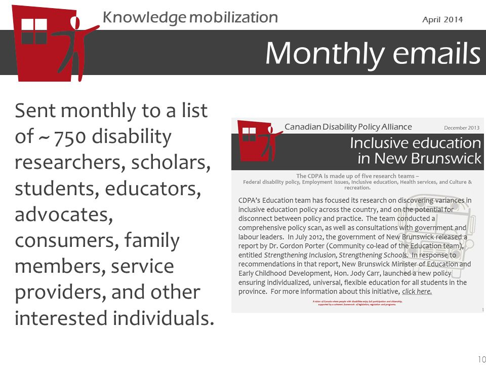 Monthly emails Sent monthly to a list of ~ 750 disability researchers, scholars, students, educators, advocates, consumers, family members, service providers, and other interested individuals.
