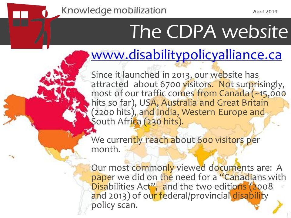 The CDPA website www.disabilitypolicyalliance.ca Since it launched in 2013, our website has attracted about 6700 visitors.