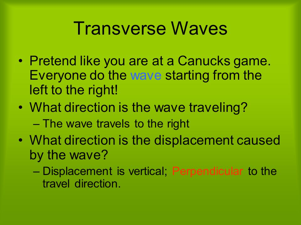 Transverse Waves Pretend like you are at a Canucks game.