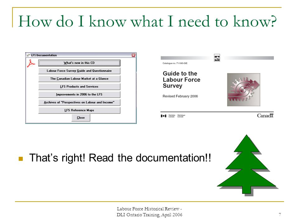 Labour Force Historical Review - DLI Ontario Training, April How do I know what I need to know.