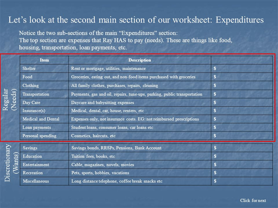 Let's look at the second main section of our worksheet: Expenditures Click for next Notice the two sub-sections of the main Expenditures section: ItemDescription ShelterRent or mortgage, utilities, maintenance$ FoodGroceries, eating out, and non-food items purchased with groceries$ ClothingAll family clothes, purchases, repairs, cleaning$ TransportationPayments, gas and oil, repairs, tune-ups, parking, public transportation$ Day CareDaycare and babysitting expenses$ Insurance(s)Medical, dental, car, house, renters, etc$ Medical and DentalExpenses only, not insurance costs.
