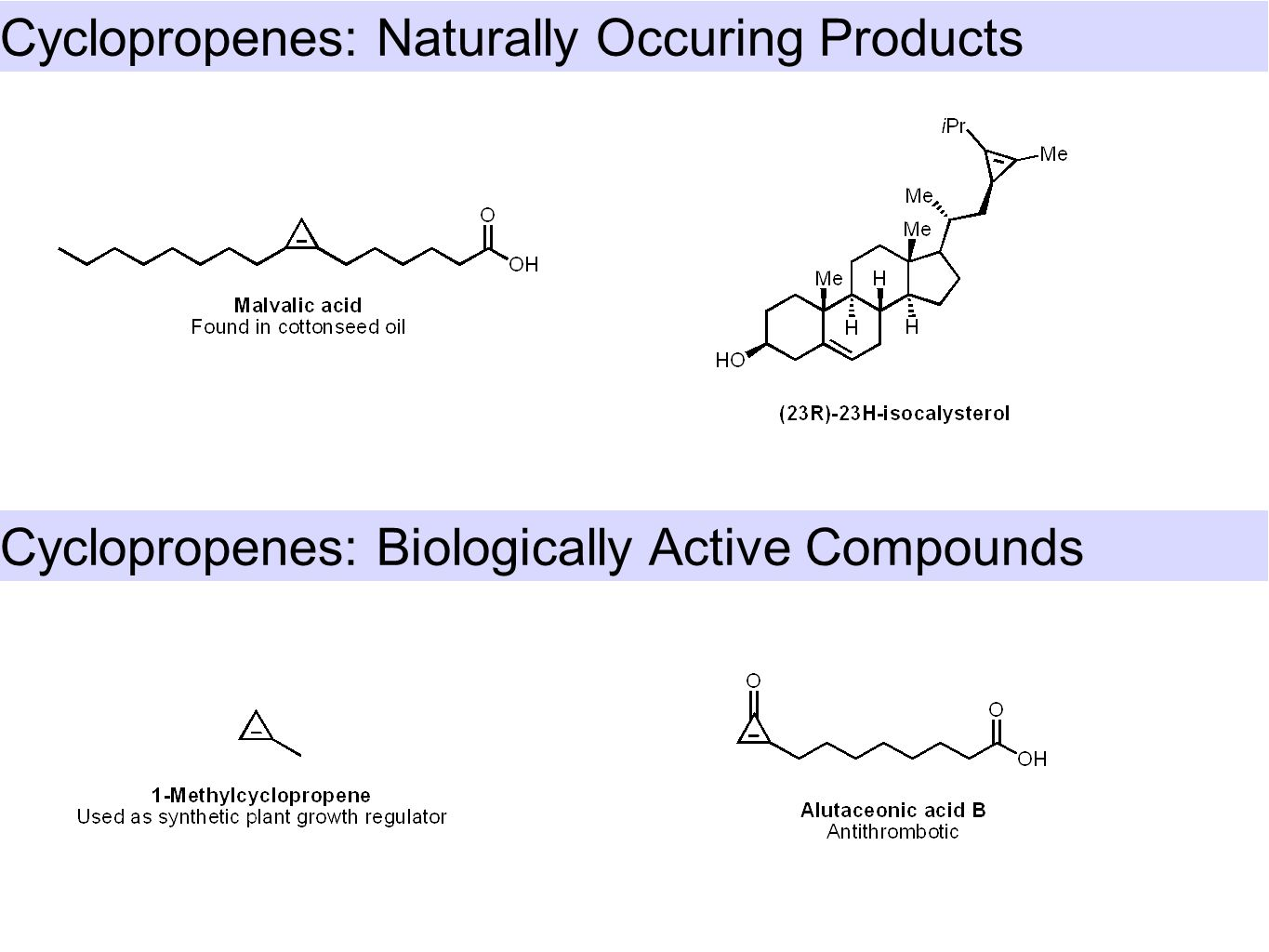 Cyclopropenes: Naturally Occuring Products Cyclopropenes: Biologically Active Compounds
