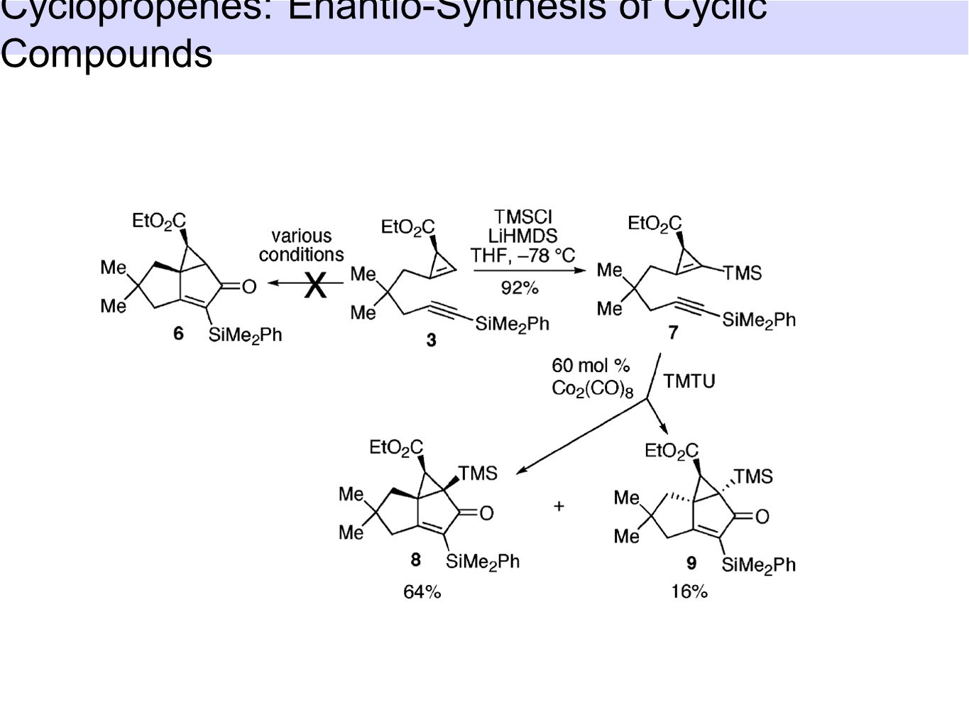 Cyclopropenes: Enantio-Synthesis of Cyclic Compounds