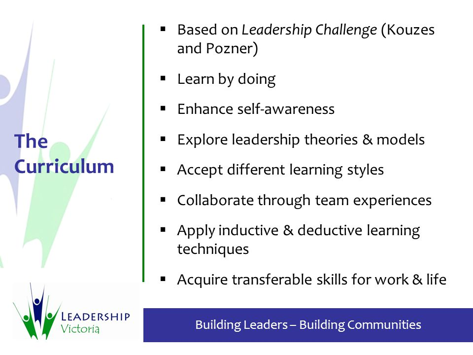 Building Leaders – Building Communities The Curriculum  Based on Leadership Challenge (Kouzes and Pozner)  Learn by doing  Enhance self-awareness  Explore leadership theories & models  Accept different learning styles  Collaborate through team experiences  Apply inductive & deductive learning techniques  Acquire transferable skills for work & life