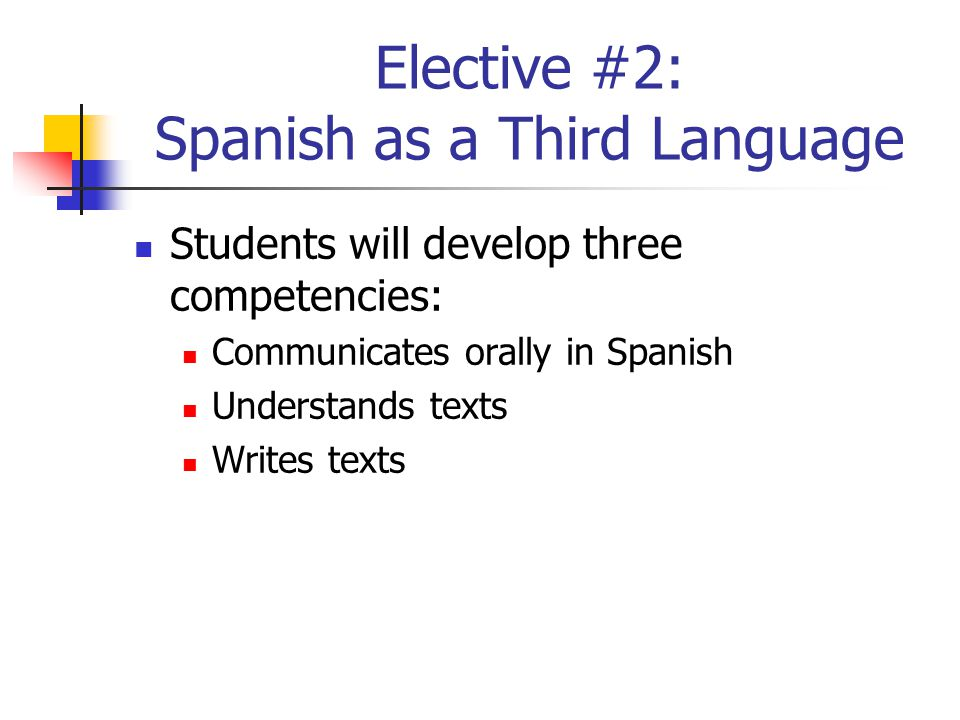 Elective #2: Spanish as a Third Language Students will develop three competencies: Communicates orally in Spanish Understands texts Writes texts