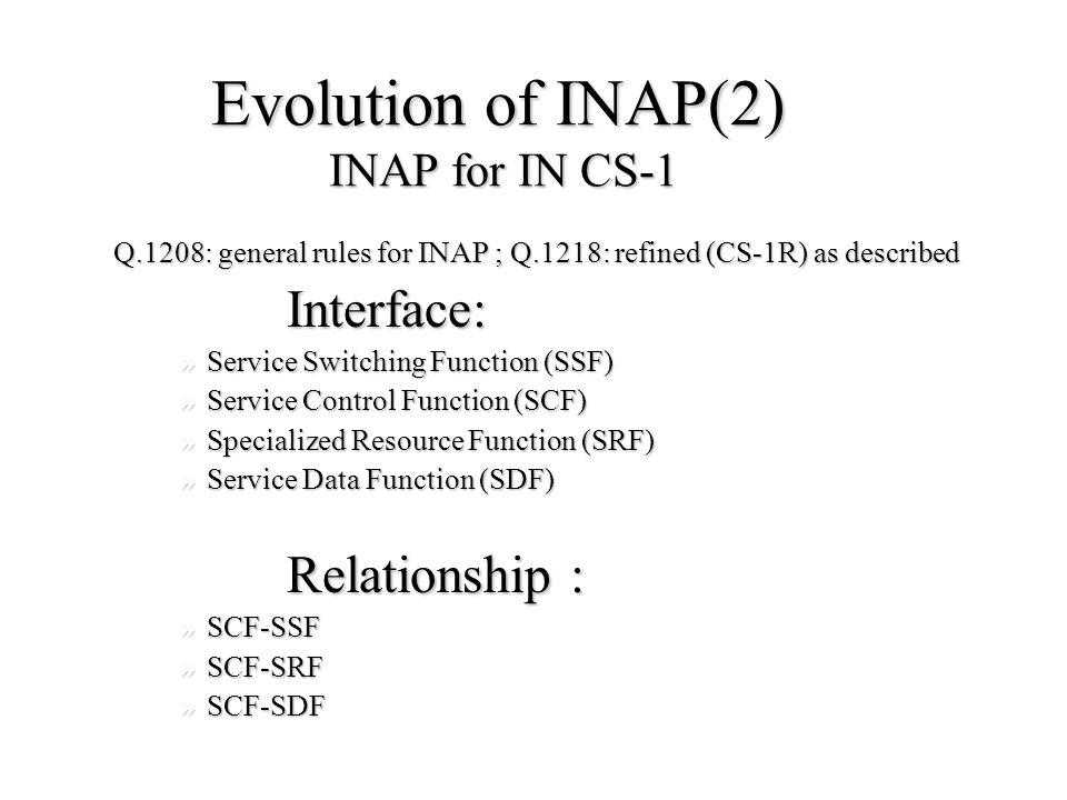 Evolution of INAP(1) The evolution of INAP depends on the development of IN Capability Set.