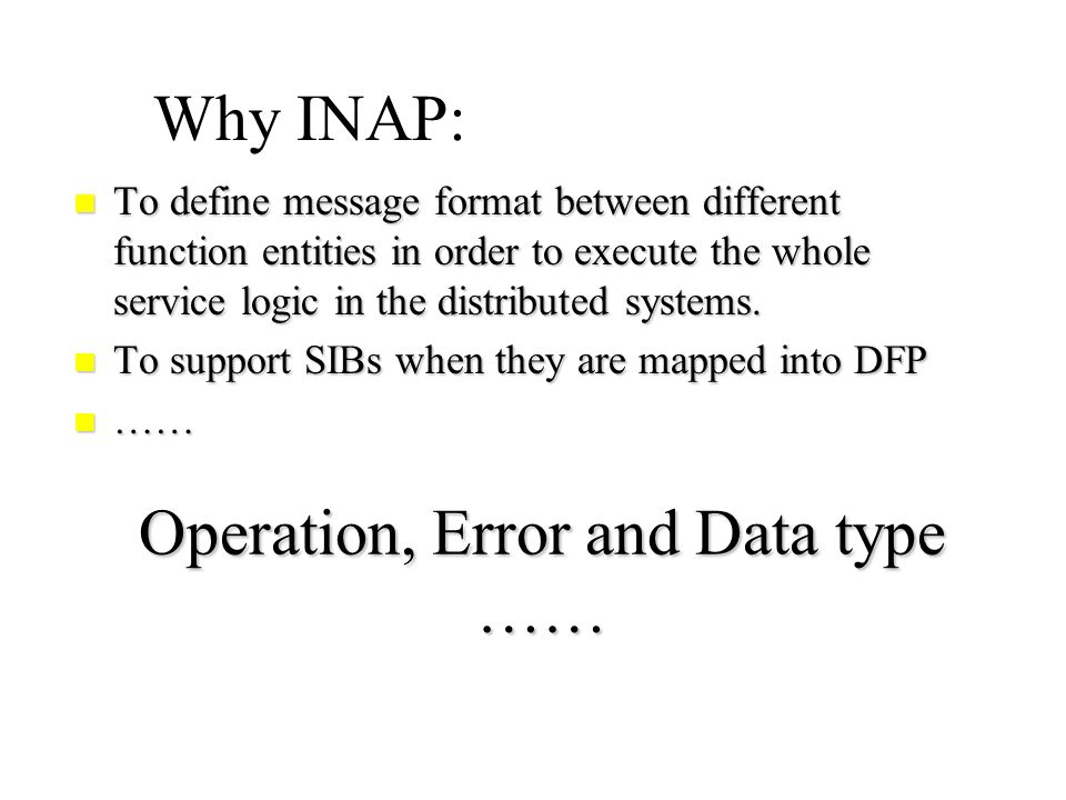 Evolution of INAP(3) INAP for IN CS-2 (Q.1228) Interface » »Service Switching Function (SSF).