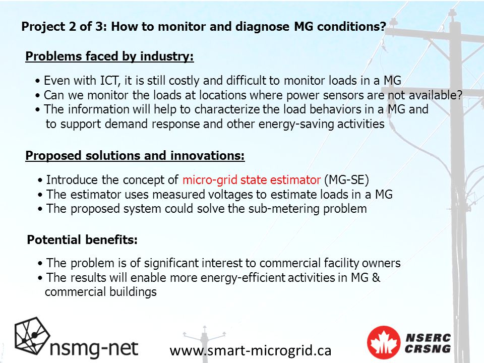 www.smart-microgrid.ca Problems faced by industry: Project 2 of 3: How to monitor and diagnose MG conditions.