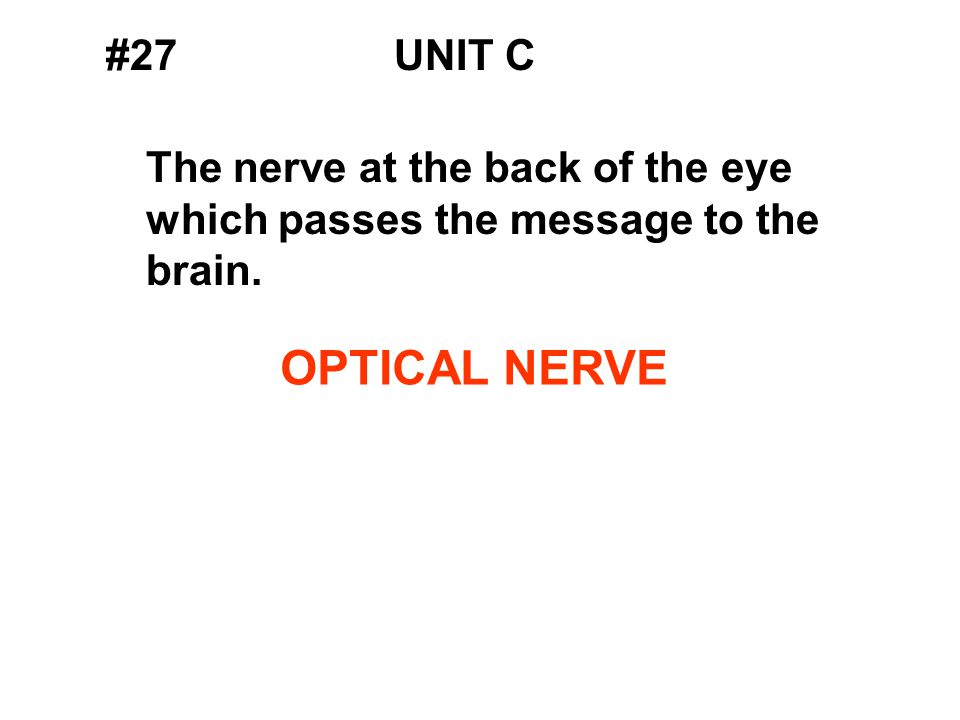 #27UNIT C The nerve at the back of the eye which passes the message to the brain. OPTICAL NERVE