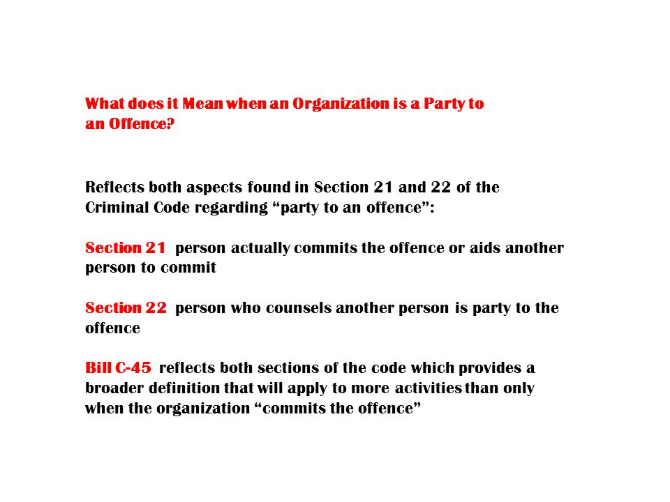 What does it Mean when an Organization is a Party to an Offence.