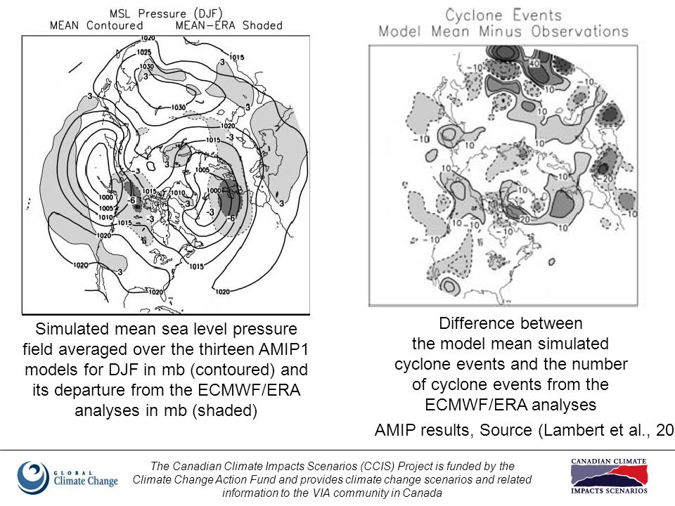 The Canadian Climate Impacts Scenarios (CCIS) Project is funded by the Climate Change Action Fund and provides climate change scenarios and related information to the VIA community in Canada Simulated mean sea level pressure field averaged over the thirteen AMIP1 models for DJF in mb (contoured) and its departure from the ECMWF/ERA analyses in mb (shaded) Difference between the model mean simulated cyclone events and the number of cyclone events from the ECMWF/ERA analyses AMIP results, Source (Lambert et al., 2002)
