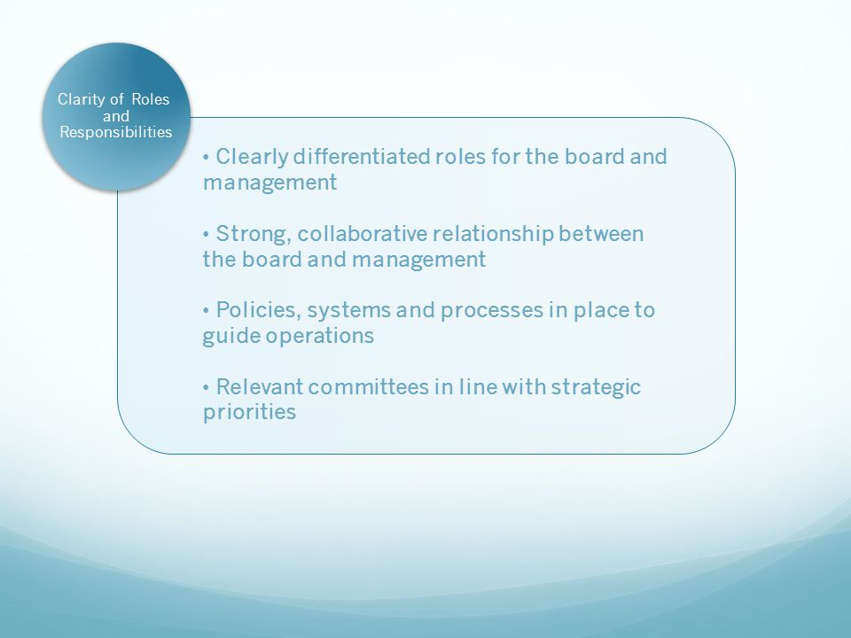 Clarity of Roles and Responsibilities Clearly differentiated roles for the board and management Strong, collaborative relationship between the board and management Policies, systems and processes in place to guide operations Relevant committees in line with strategic priorities