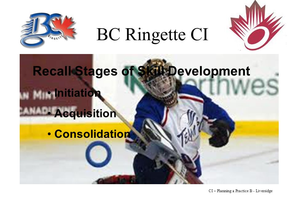 BC Ringette CI Recall Stages of Skill Development Initiation Acquisition Consolidation CI – Planning a Practice B - Liversidge