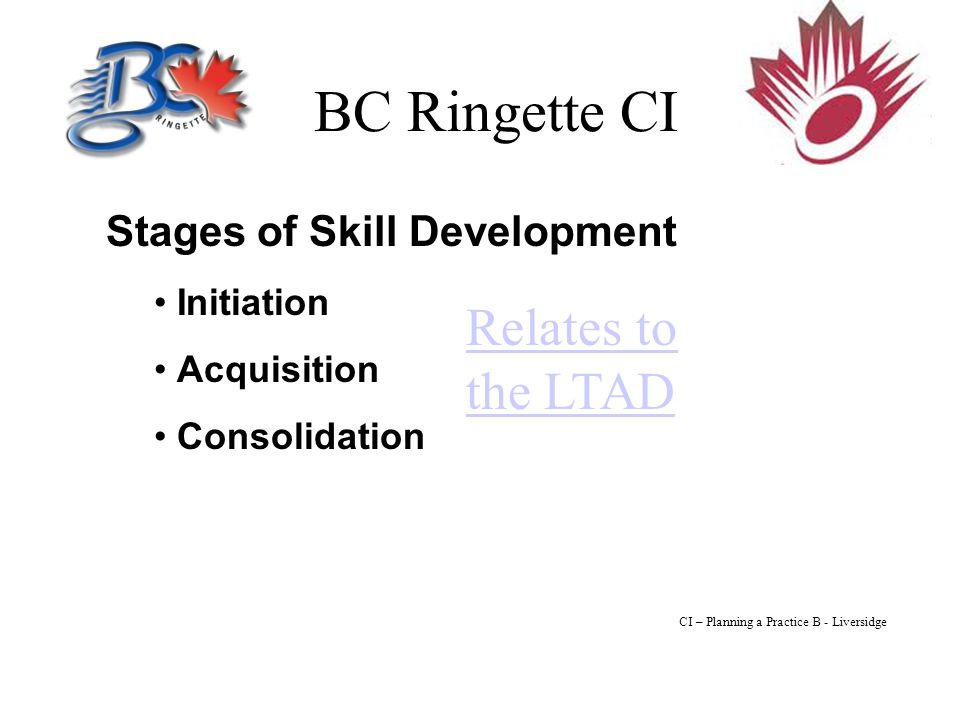 BC Ringette CI Stages of Skill Development Initiation Acquisition Consolidation Relates to the LTAD CI – Planning a Practice B - Liversidge