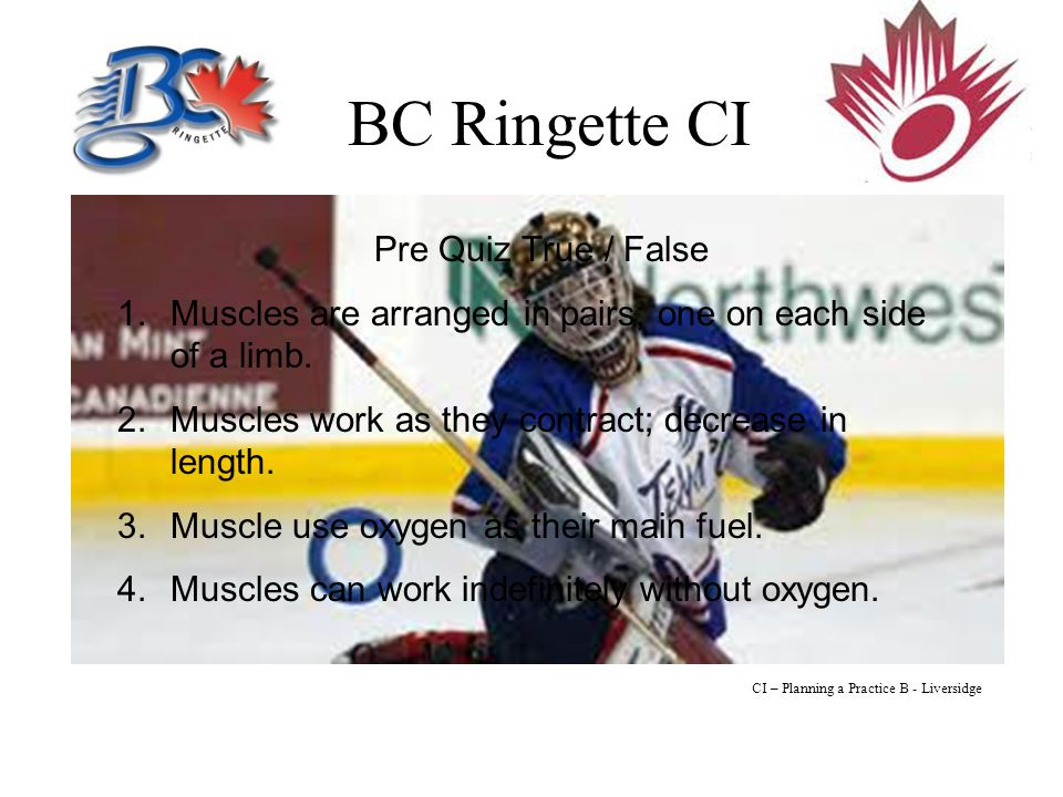 BC Ringette CI Pre Quiz True / False 1.Muscles are arranged in pairs; one on each side of a limb.