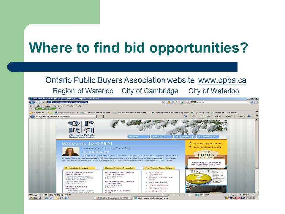 Where to find bid opportunities.