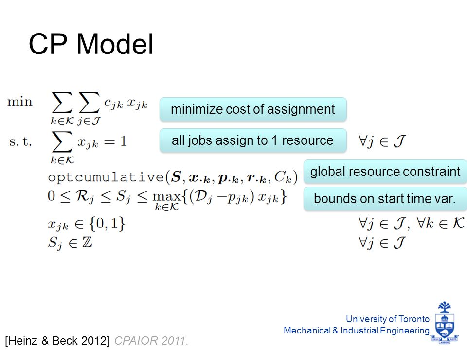 University of Toronto Mechanical & Industrial Engineering CP Model [Heinz & Beck 2012] CPAIOR 2011.