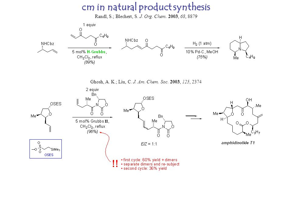 cm in natural product synthesis Randl, S.; Blechert, S.