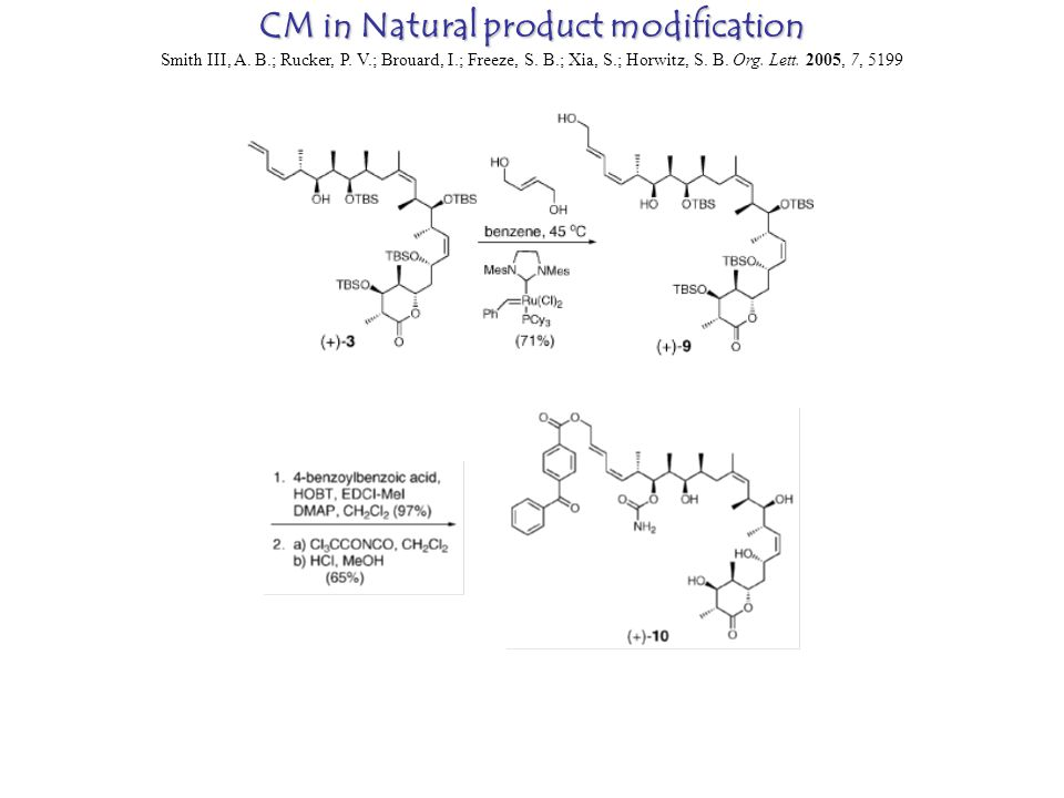 CM in Natural product modification Smith III, A. B.; Rucker, P.