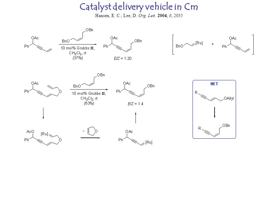 Catalyst delivery vehicle in Cm Hansen, E. C.; Lee, D. Org. Lett. 2004, 6, 2035