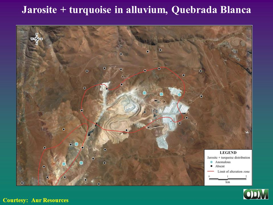 Jarosite + turquoise in alluvium, Quebrada Blanca Courtesy: Aur Resources