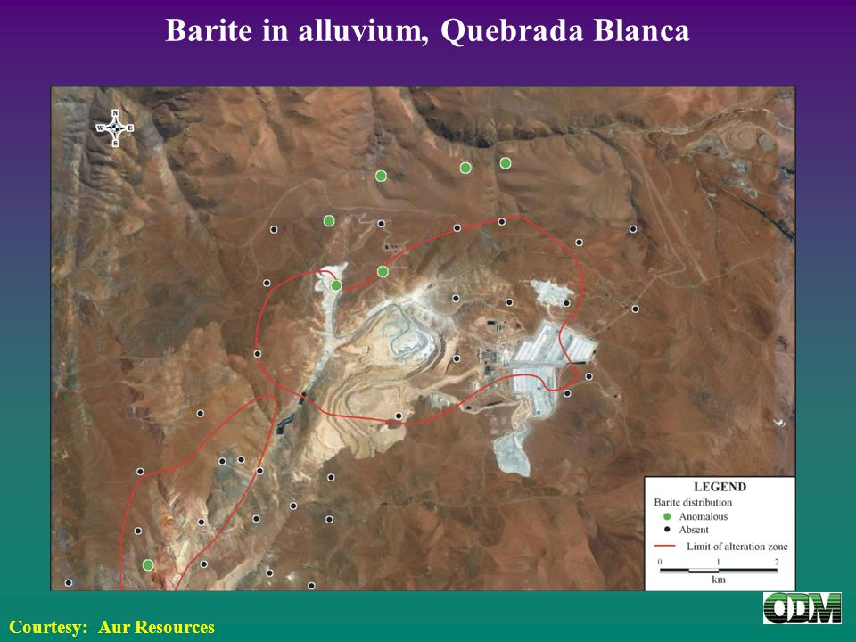 Barite in alluvium, Quebrada Blanca Courtesy: Aur Resources