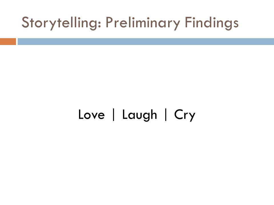 Storytelling: Preliminary Findings Love | Laugh | Cry