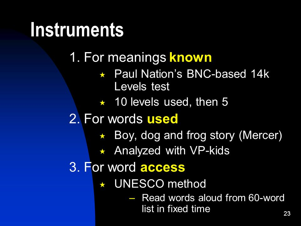 23 1. For meanings known  Paul Nation's BNC-based 14k Levels test  10 levels used, then 5 2.