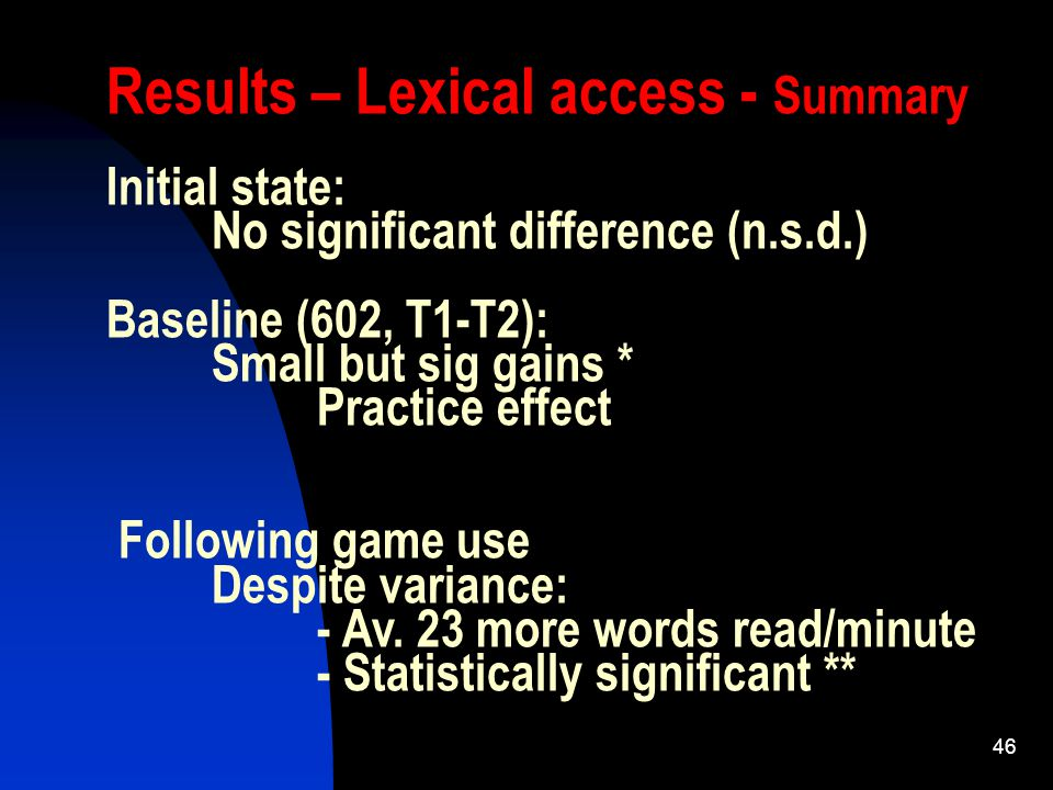 46 Results – Lexical access - Summary Initial state: No significant difference (n.s.d.) Baseline (602, T1-T2): Small but sig gains * Practice effect Following game use Despite variance: - Av.