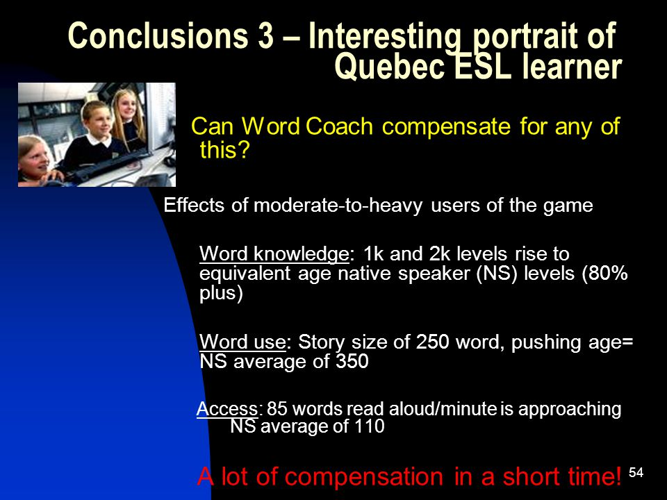 54 Can Word Coach compensate for any of this.